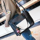 交換禮物-手提包大包包女2018秋冬新款歐美簡約撞色單肩包百搭大氣潮手提包手提包