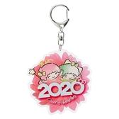 〔小禮堂〕雙子星 花朵造型壓克力鑰匙圈《粉》掛飾.鎖圈.2020花漾系列 4901610-16454
