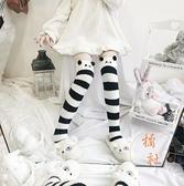 過膝襪長筒襪子女秋冬保暖地板睡眠襪可愛【橘社小鎮】