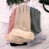 觸屏手套 手套女冬天加絨加厚保暖觸摸屏毛絨手套冬季網紅款開車可愛手套潮 5色