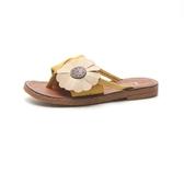 2019夏季新款甜美花朵涼拖鞋平底平跟夾拖沙灘鞋時尚百搭女鞋外穿