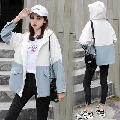 2009#日系百搭學生拼色袖子連帽開衫女簡潔寬松薄款外套風衣N-E259-A 日韓屋
