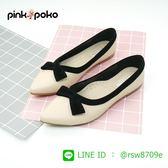 包鞋☆PINKPOKO粉紅波可☆ 黑絨包邊平底包鞋 ~2色# T9474P