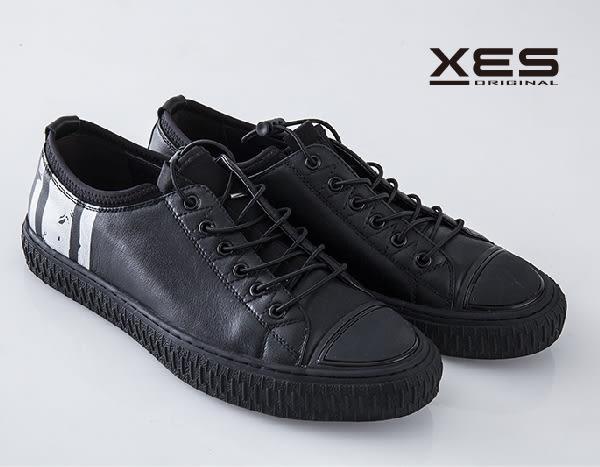 XES 拼貼皮革綁帶帆布鞋 /休閒鞋 男款/黑