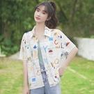 新款夏威夷花襯衫女港味休閒寬鬆沙灘碎花短袖白襯衣潮 依凡卡時尚