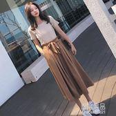 花苞闊腿褲套裝女夏季新款韓版時尚晚晚風寬鬆網紅兩件套俏皮     原本良品