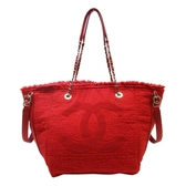 CHANEL 香奈兒 紅色毛邊棉布手提肩背包Double Face Fringe Shopping Bag【BRAND OFF】