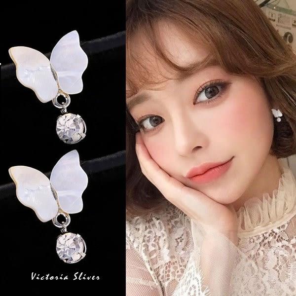 925純銀針  韓國優雅氣質  光彩亮麗蝴蝶耳環-維多利亞181213