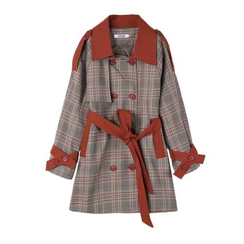 風衣外套-格子拼接撞色腰帶長版女大衣73yx35[時尚巴黎]
