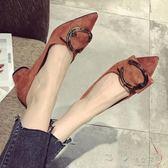 韓版新款絨面淺口尖頭大碼粗跟中跟單鞋女搭扣小跟鞋     俏女孩