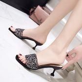 高跟拖鞋新款時尚外穿百搭細跟水鉆一字涼拖鞋 JD4097【男人與流行】