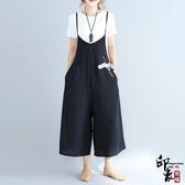 寬鬆大尺碼女胖MM連體褲闊腿褲刺繡背帶褲 週年慶降價