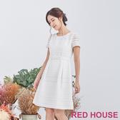 【RED HOUSE 蕾赫斯】花紋素色條紋洋裝(白色)