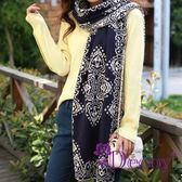 【Decoy】白紋青花瓷*毛線編織圍巾/藍底 ◆86小舖 ◆