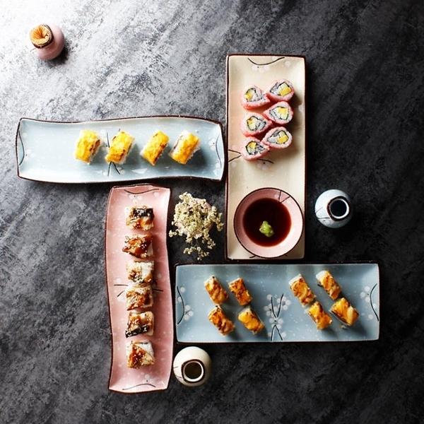 碟子 日式壽司盤子創意陶瓷長方形西餐廳甜品點心盤菜碟魚盤家用早餐具 莎瓦迪卡
