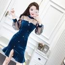 秋季新款韓版網紗拼接長袖絲絨洋裝女修身顯瘦包臀魚尾裙子