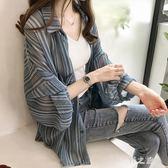 中尺碼防曬外套 女夏季韓版學生中長款寬鬆披肩雪紡襯衫長袖薄外套女 HT1733