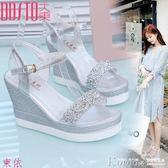 蕾絲靴 高跟坡跟涼鞋女防水台平底水鑽超高跟厚底鬆糕女鞋子【韓國時尚週】