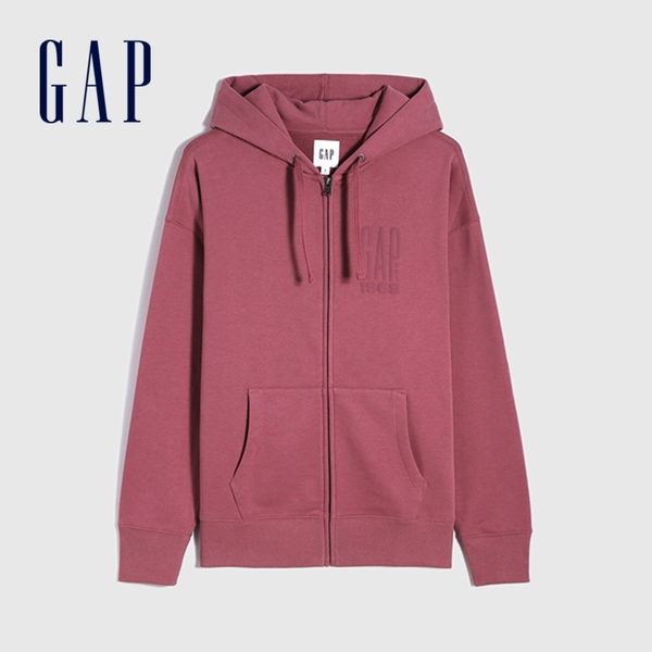Gap男裝 碳素軟磨系列 Logo法式圈織開襟連帽外套 888647-玫瑰紅