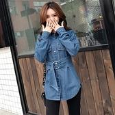 牛仔外套-中長版時尚收腰腰帶韓版女丹寧夾克73tj7[時尚巴黎]