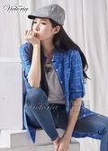 Victoria 格紋長袖長版襯衫-女-藍底白格/白底藍格