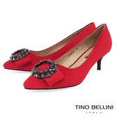 Tino Bellini 奢華鑲嵌鑽飾中跟鞋_ 紅  F79006 網路限定款