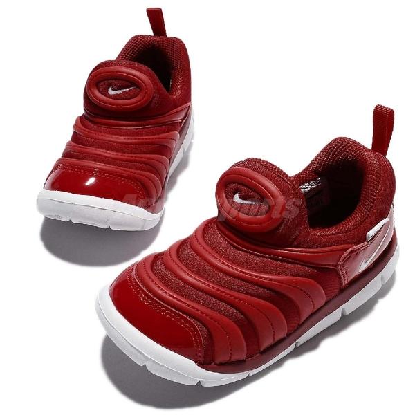 Nike 毛毛蟲鞋 Dynamo Free TD 紅 白 慢跑鞋 嬰兒鞋 學步鞋【ACS】 343938-621