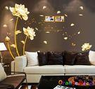 壁貼【橘果設計】金色玫瑰 DIY組合壁貼...