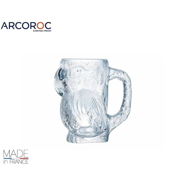 法國樂美雅Luminarc 900cc 3D立體浮雕鸚鵡創意啤酒杯 馬克杯 玻璃杯 飲料杯 冷飲杯 arcoroc
