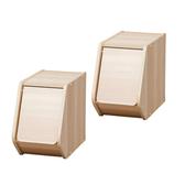 (組)日本IRIS木質可掀門堆疊櫃W20-淺木色 (二入)