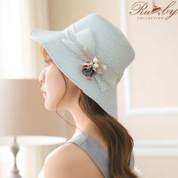 帽子 垂墜花朵蝴蝶結編織草帽-Ruby s 露比午茶