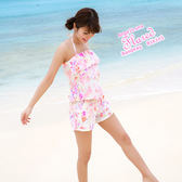 比基尼泳裝-日本品牌AngelLuna 現貨 水彩渲染風短褲 連身褲三件式溫泉沙灘泳衣