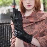 真皮手套-羊皮加絨雙層裙邊女手套73wm48【巴黎精品】