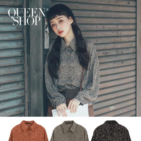 Queen Shop【01023537】不規則小點點雪紡襯衫 三色售*現+預*