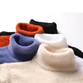 水貂絨毛衣男士秋冬季高領潮流針織衫青少年高中學生加厚款毛線衣 蘿莉新品
