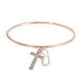 手鍊 手環 個性 時尚 百搭 經典 禮物 十字架 Bangle 銅鍍14K玫瑰金 施華洛世奇水鑽
