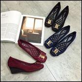 方頭絨布素面金扣內增高厚底鞋楔型鞋女鞋跟鞋包鞋藍色(35-41大尺碼)現貨