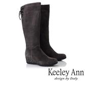 ★2018秋冬★Keeley Ann雅緻低調~蝴蝶樣後綁帶楔型鞋感長靴(灰色)