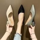女鞋新款春季淺口尖頭女士中粗跟單鞋網紅晚晚兩穿黑色高跟鞋 阿卡娜
