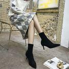 靴子女新品尖頭細跟裸靴小跟絨面中筒彈力襪靴高低跟瘦瘦短靴
