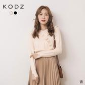 東京著衣【KODZ】休閒甜心V領荷葉領邊針織上衣(191772)