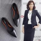 工作鞋女黑色平底鞋尖頭軟底防滑上班鞋舒適職業單鞋平跟正裝鞋子