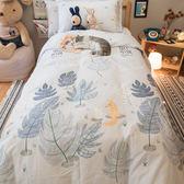 小白兔與小狐狸 D3雙人床包雙人兩用被四件組 100%復古純棉 極日風 台灣製造 棉床本舖
