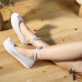 翹頭鞋素面布鞋弓鞋中國風復古平底古裝鞋子女單鞋 降價兩天