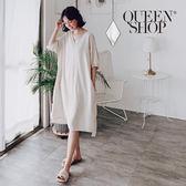 Queen Shop【01084445】純色後綁帶棉麻洋裝 兩色售*現+預*