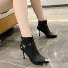 高跟短靴馬丁靴女高跟鞋水鑽金屬尖頭單靴秋季新款百搭冬天短靴細跟 【快速出貨】