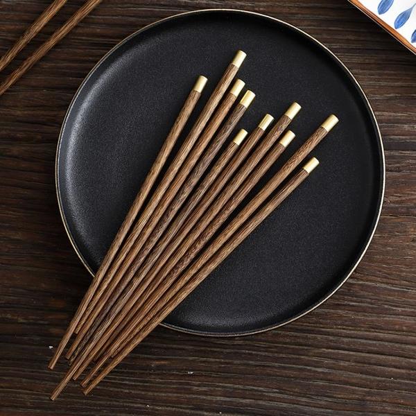 onlycook家用雞翅木筷子福字筷實木筷10雙