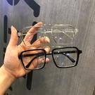 歐美風網紅大方框傾斜鏡片眼鏡平光鏡框架鏡男女素顏百搭潮款