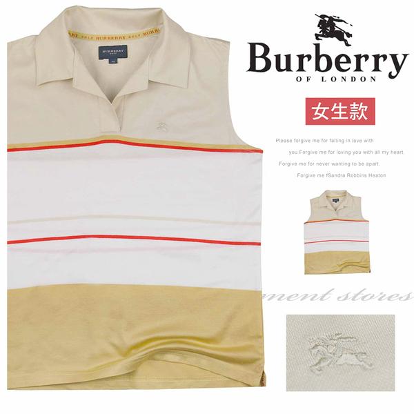 【大盤大】burberry 女 夏 日本製 無袖背心 條紋背心 M號 V領上衣 百貨專櫃 單色 素面名牌 涼爽