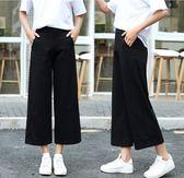 寬褲 女夏季垂感高腰薄款正韓西裝九分休閒寬松雪紡七分褲